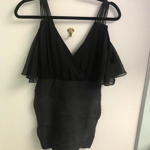 Hot Miami Styles Black Bandage with Flowy top